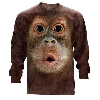 『摩達客』(預購)美國進口The Mountain 可愛猩猩臉 純棉長袖T恤