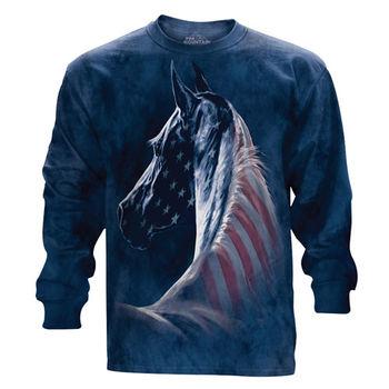 『摩達客』(預購)美國進口The Mountain 愛國馬頭像 純棉長袖T恤