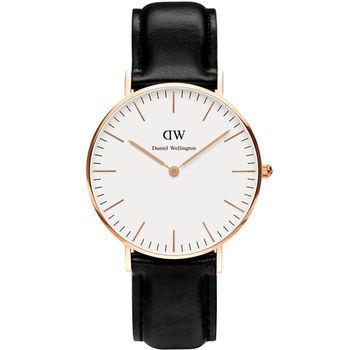 DW Daniel Wellington Classic Sheffield Lady 雋永之美雪菲爾皮革腕錶 36mm 白x玫瑰金 / 0508DW