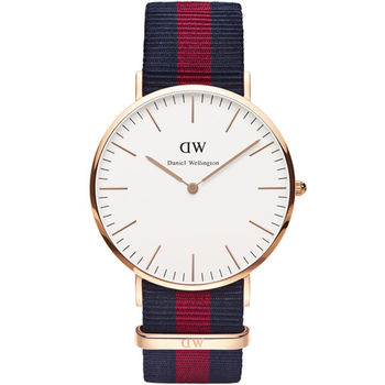 DW Daniel Wellington Classic Oxford 雅痞學院風尼龍腕錶 40mm 藍x紅 / 0101DW