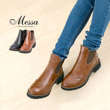 【Messa米莎】韓系龐克鉚釘復古造型短靴 -黑色