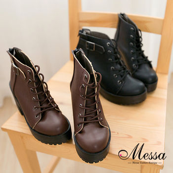 【Messa米莎】(MIT) 金屬皮帶飾扣綁帶造型馬丁中筒靴-黑色