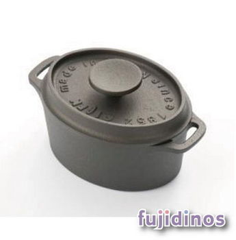 Fujidinos【及源鑄造】鑄鐵迷你烤鍋‧12cm橢圓款
