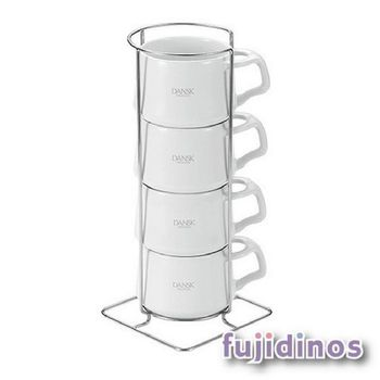Fujidinos【DANSK】琺瑯材質咖啡杯(4件組)(白色)