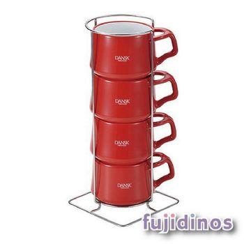 Fujidinos【DANSK】琺瑯材質咖啡杯(4件組)(紅色)