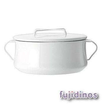 Fujidinos【DANSK】琺瑯雙耳燉煮鍋‧23cm(白色)