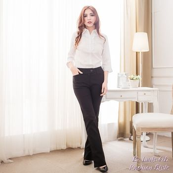 【EE-LADY】素面喇叭西裝褲-黑色