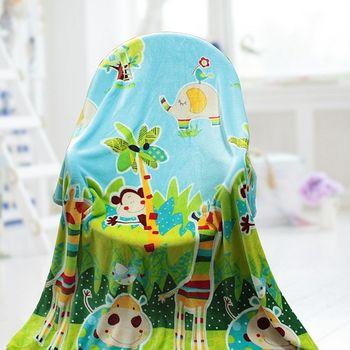 【情定巴黎】彩色動物園 保暖法蘭絨毯包邊超值加厚款(150cm x200cm)