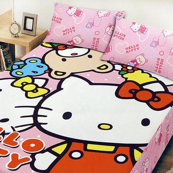 【Hello Kitty】 凱蒂貓 刷毛雙人加大床包三件組 (歡樂同好會)