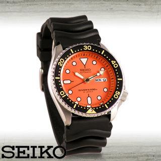 【SEIKO 精工】防水200米-橘色錶面潛水機械錶(SKX011J1)