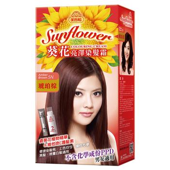 美吾髮 葵花亮澤染髮霜 -5N號琥珀棕