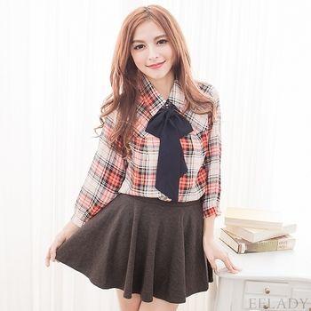 【EE-LADY】雪紡領巾七分袖格紋襯衫-橘色