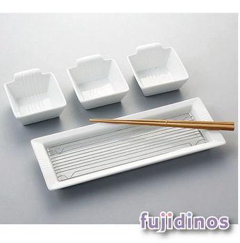Fujidinos【日式美感】陶瓷分隔式餐盤組‧長型款