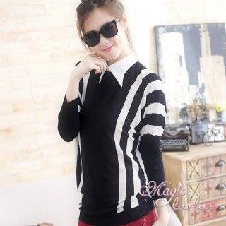 【魔法拉拉】襯衫領黑白條紋上衣A425(紳士白領)