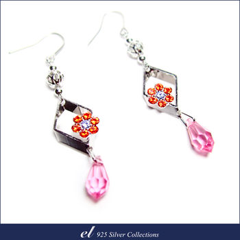 el非銀系列 - 施華洛世奇水晶鑽耳環 Blossom