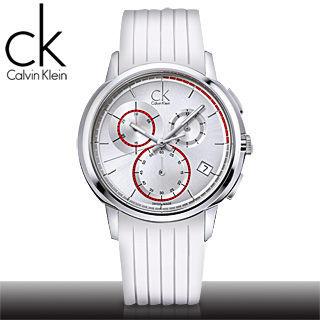 【瑞士 CK手錶 Calvin Klein】大錶徑三眼白色膠帶男錶(K1V27938)