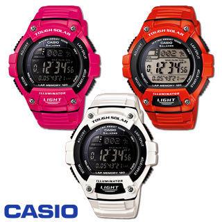 【CASIO 卡西歐】太陽能供電艷彩運動錶-橘紅/桃紅/白色(W-S220C)