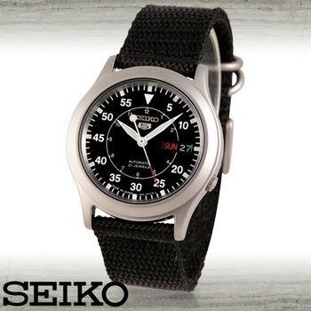 【SEIKO 精工】全日製經典帆布錶帶軍用錶(SNKH63J2)