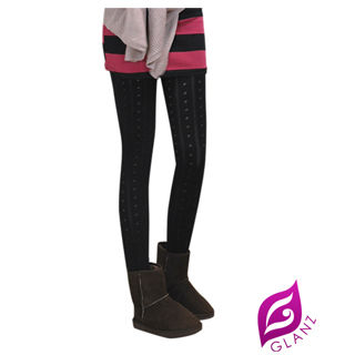 【GLANZ 格藍絲】台灣製320丹 韓版究極顯瘦塑身美腿內搭九分襪(浪漫點點圓舞曲)