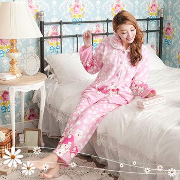 【Elf Alice】粉甜可人兒法蘭絨兩件式褲裝睡衣