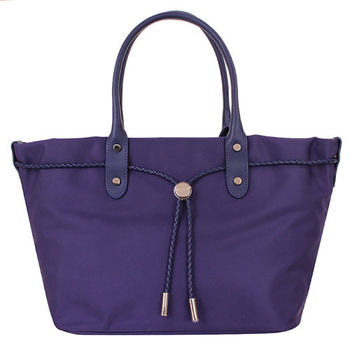 agnes b.- 帆布麻繩束袋手提包(小/紫)