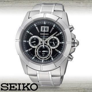 【SEIKO 精工】大錶框三眼/紳士石英男錶(SPC099P1)