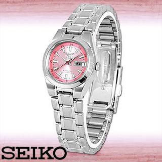 【SEIKO 精工】盾牌5號優雅粉色錶面機械女錶(SYMH27J1)