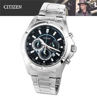 【CITIZEN 星辰】沉穩藍鯊三眼計時賽車錶(AN8040-54L)