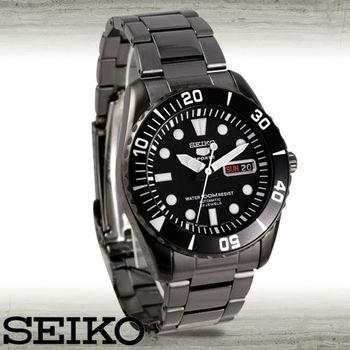 【SEIKO 精工】黑鋼錶帶魅力有型/日製機械錶(SNZF21J1)