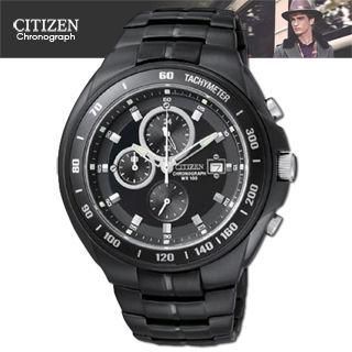 【CITIZEN 星辰】三眼黑鋼時尚腕錶(AN4019-52E)