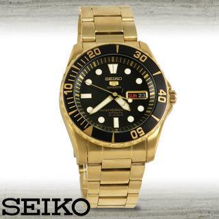 【SEIKO 精工】全金黑框精工時尚/運動機械錶(SNZF22J1)