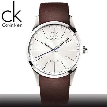 【瑞士 CK手錶 Calvin Klein】沉穩紳士款_大錶徑皮革錶帶男錶(K2241138)