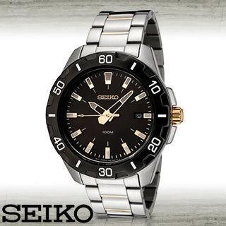 【SEIKO 精工】黑金時尚運動休閒腕錶(SGEE51P1)