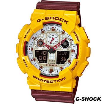 CASIO G-SHOCK 雙顯運動腕錶 GA-100CS-9A 黃x紅