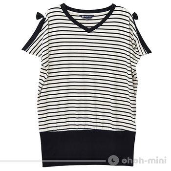 ohoh-mini孕婦裝 輕甜唯美V領條紋孕婦上衣