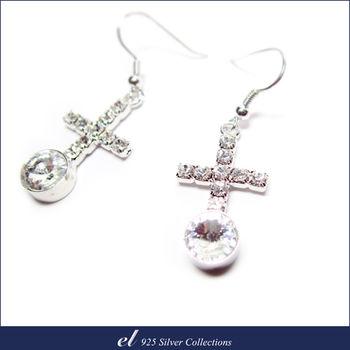 el非銀系列 - 施華洛世奇水晶鑽耳環 Round Cross