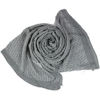 Calvin Klein 小LOGO印花造型圍巾(灰)