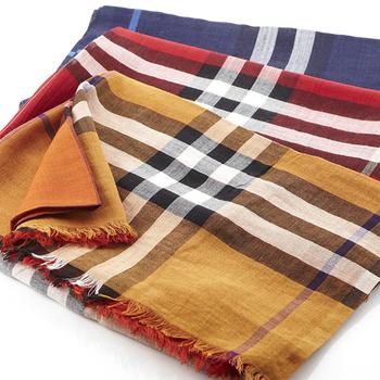 BURBERRY經典大格紋羊毛絲綢披肩/圍巾(橘紅/紅色/藍色3色)