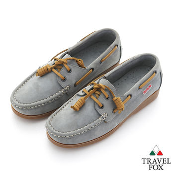 Travel Fox(女) STYLE-風格流行 經典反毛牛皮帆船鞋 - 灰