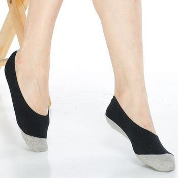 【KEROPPA】吸濕/止滑/減壓竹炭隱形襪*6雙(男女適用)C502-黑色