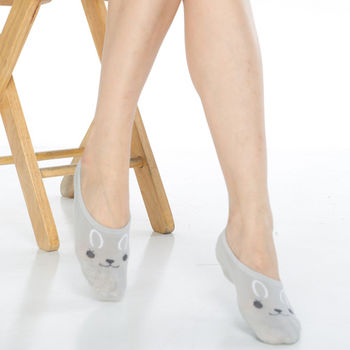【KEROPPA】吸濕/止滑/減壓竹炭隱形襪*6雙(男女適用)503-3-灰色