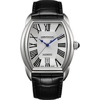 AEROWATCH Streamline 經典酒桶造型機械腕錶-銀  A60959AA01