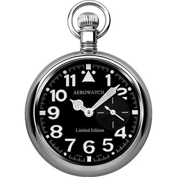AEROWATCH Hommage 復刻經典小秒針懷錶-黑 A55812PD01