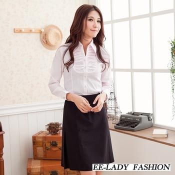 【EE-LADY】V領胸前斜壓摺條紋長袖襯衫-粉色(L-XL)