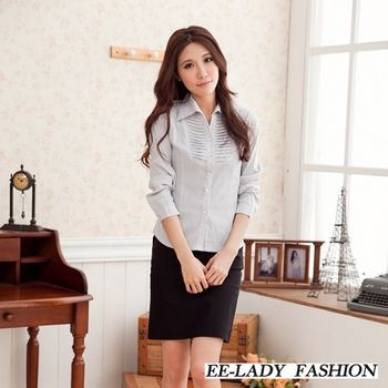【EE-LADY】V領胸前斜壓摺條紋長袖襯衫-灰色(M-XL)
