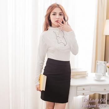 【EE-LADY】素面西裝窄裙-黑色(2L)