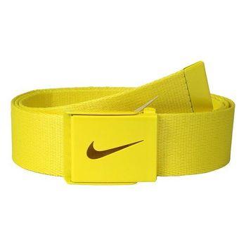 【Nike】2015金屬扣旋風標誌棉軟織帶黃色皮帶(預購)