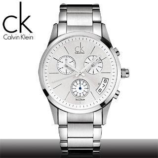 【瑞士 CK手錶 Calvin Klein】白面彎月三眼計時男錶(K2247120)