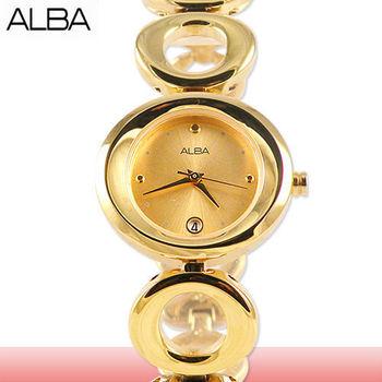 【ALBA 亞柏精工錶】金面戀天使佳人圓鍊手錶(AXT438X1)