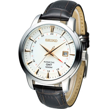 精工 SEIKO Kinetic 雙時區簡約時尚腕錶 5M85-0AC0S (SUN035P1)